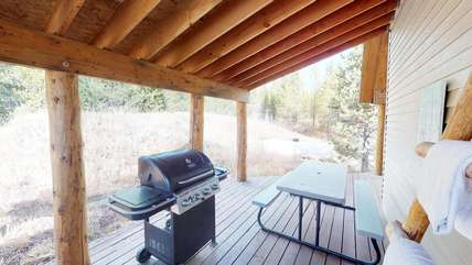 A barbecue and picnic table are available for your use.