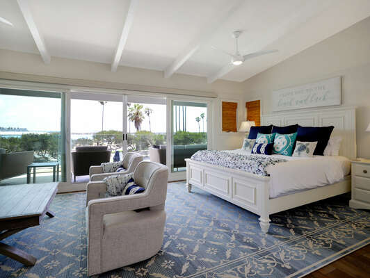 Master Bedroom with King Bed and Beachfront Balcony