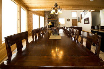 A large dining table so your family can enjoy a meal around the table.