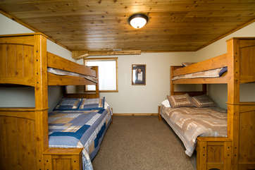 The basement second bedroom is a bunk room that is the best place for all the little ones to have a sleepover.