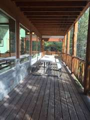 Front of deck with 2 Picnic Tables