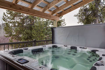 Deluxe Hot tub available all year round.  back yard area is very private.