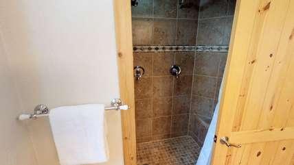 Main level walk-in shower