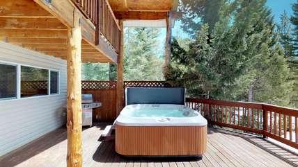 Take a soak in our private tub