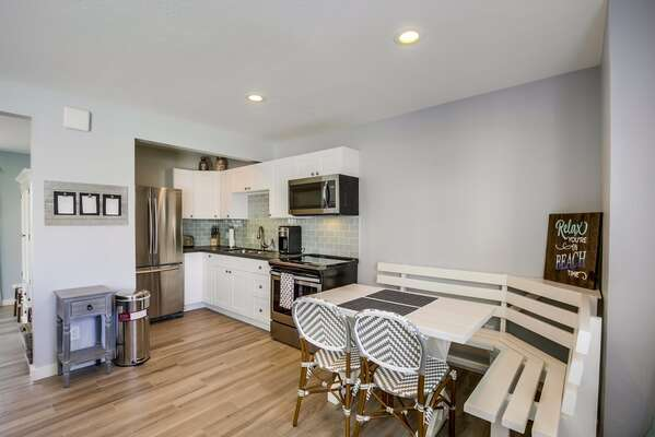 Updated Kitchen Includes Stainless Steel Appliances.