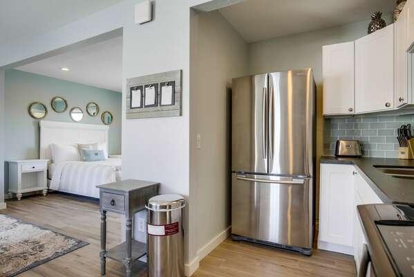 Stainless Steel Refrigerator in Kitchen.