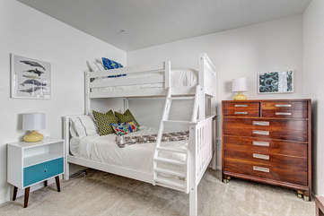 Bedroom 3: Twin over full bunk beds.