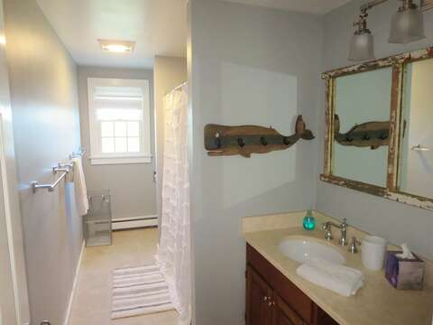 2nd floor bath with a tub and shower - 66 The Cornfield Chatham Cape Cod - New England Vacation Rentals