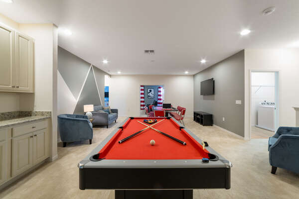 Upstairs Landing Gaming Area with Pool Table and Kitchenette, and Full Size Card Table.