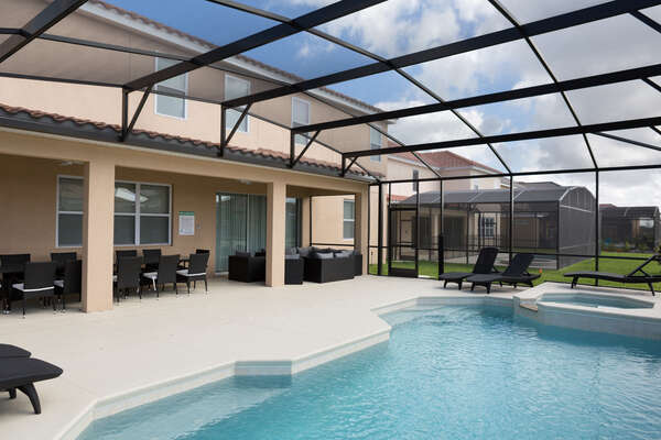 Large pool deck and patio seating