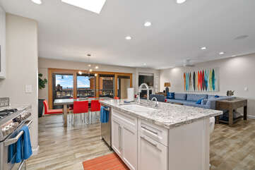 Beautiful spacious kitchen with a large island.