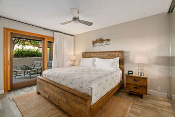 2nd bedroom with patio and Queen bed.