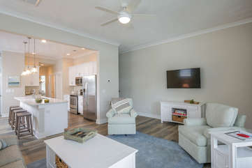 Spacious living space with 50 inch flat screen TV and board games.