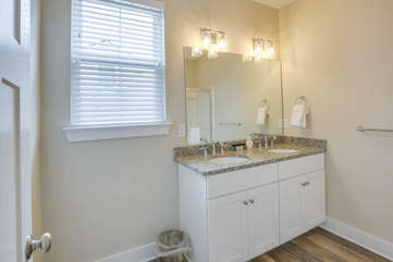 Master bathroom with dual sinks.