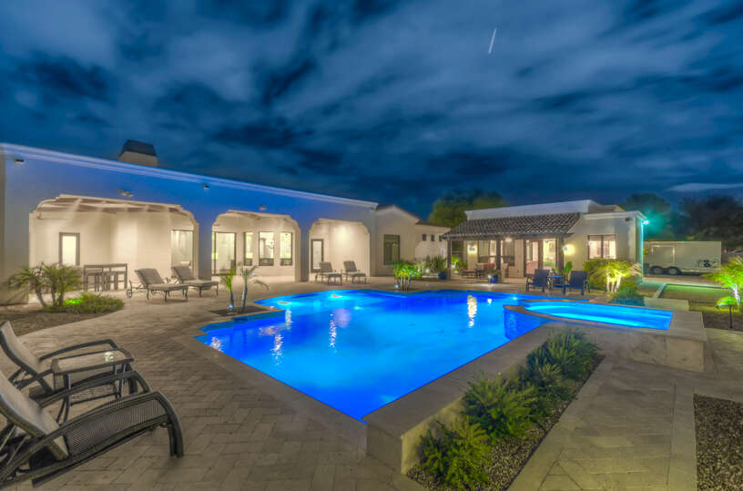 Gorgeous Backyard with Heated Pool and Spa.