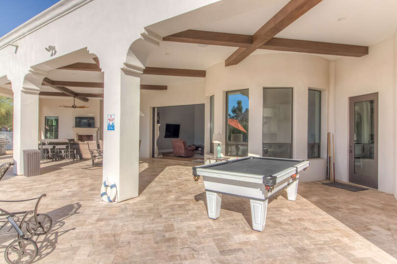 Large Patio Features Pool Table and Plenty of Space.