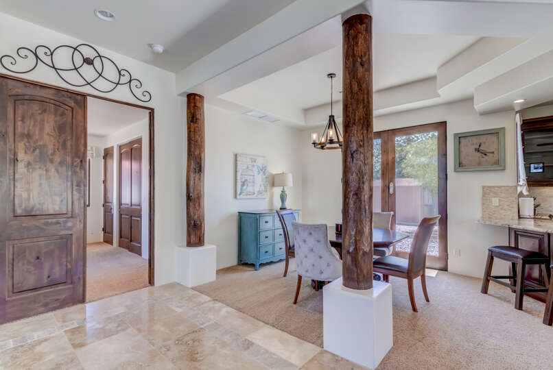 Breakfast Nook and Wooden Columns in Guest House.