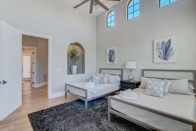 A Guest Bedroom in Scottsdale Vacation Home Rental With Two Full Beds.