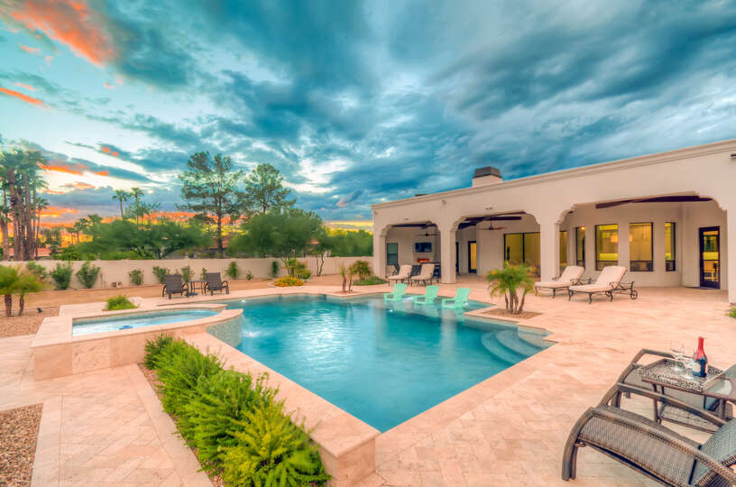 Luxurious Backyard Patio Attached to Scottsdale Vacation Home Rental.
