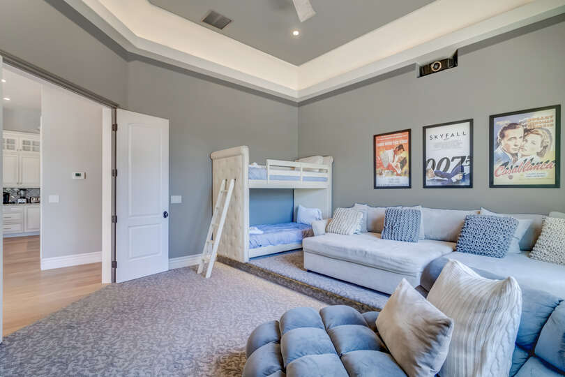 Oversized sleeper sofa and Bunk Bed in Scottsdale Vacation Home Rental.