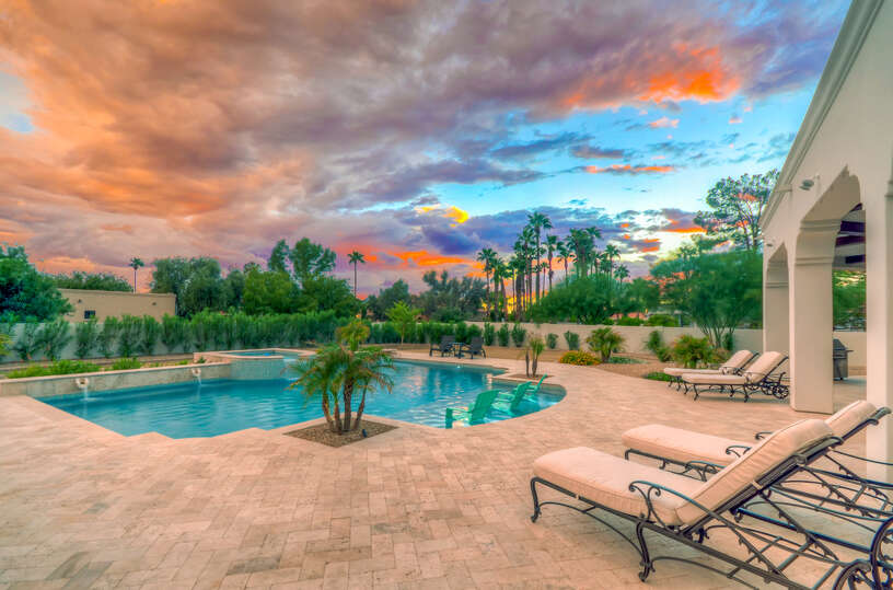 Enjoy a Private Backyard at Sunset in Our Scottsdale Vacation Home Rental.