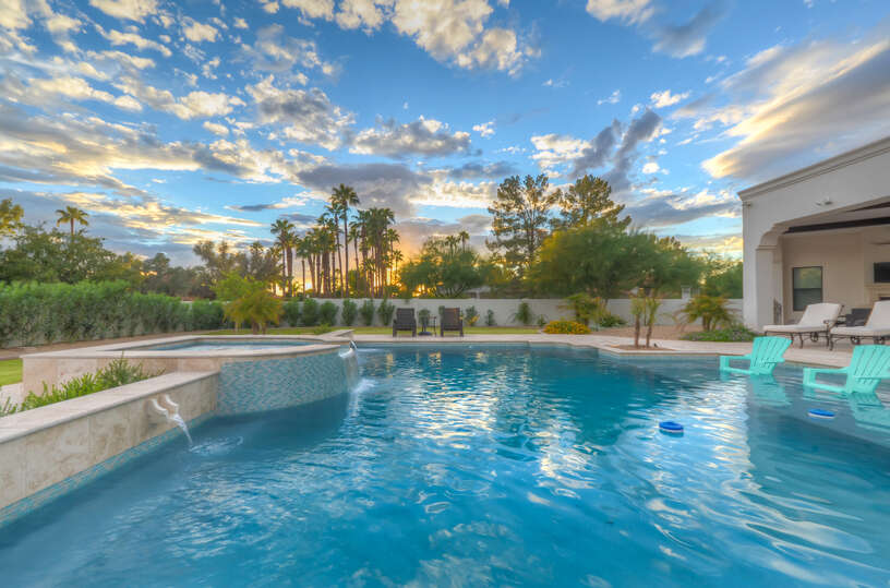 Enjoy In-Pool Chairs and Beautiful Sunset Views.