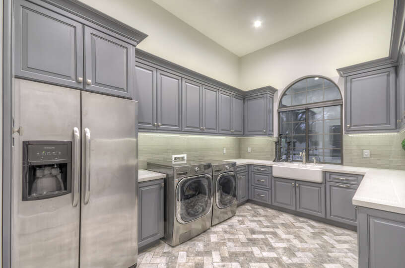 Double-Door Fridge in Laundry Room in Scottsdale Vacation Home Rental.