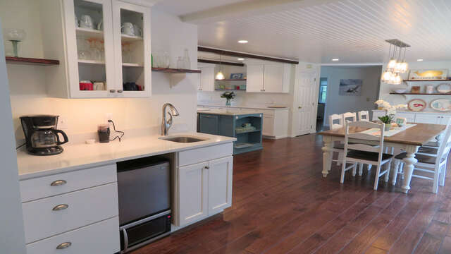 Wet bar with wine and creamer frig-55 High Point Drive North Chatham Cape Cod - New England Vacation Rentals
