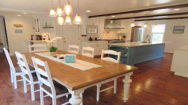 View of dining area to kitchen- all open-55 High Point Drive North Chatham Cape Cod - New England Vacation Rentals