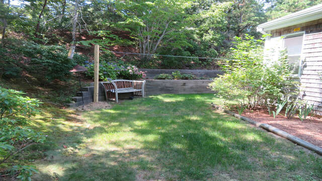 Lush trees and nice yard with places to ponder-55 High Point Drive North Chatham Cape Cod - New England Vacation Rentals