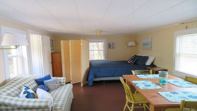 The bedroom is located just off of the living/sleeping area - 1047 Old Queen Anne Road Chatham Cape Cod - New England Vacation Rentals