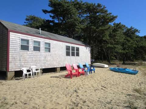 Beachfront on Goose Pond - There is a lovely little beach in front of the cottage when water levels of the pond are not high-see description1047 Old Queen Anne Road Chatham Cape Cod - New England Vacation Rentals