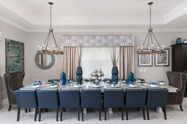 Formal dining are has seating for 16