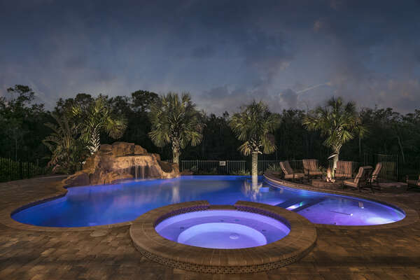 Spend your day or night in the spectacular infinity-edge private pool with waterfall and slide