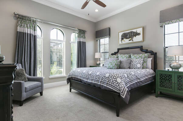 Master Suite 1 located on the ground floor features a king bed