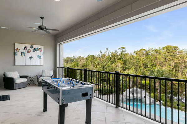 Step outside to the balcony from the games room and enjoy a game of foosball