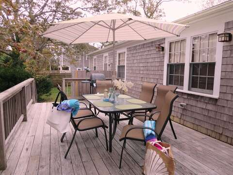 Outdoor dining - gas grill - umbrella for shade  23 Ginger Plum Lane Harwich Port Cape Cod - New England Vacation Rentals