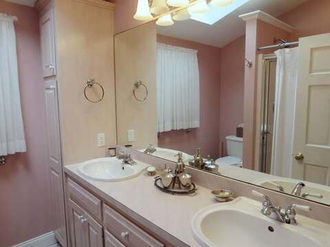 Ensuite Bathroom with double vanity and shower- 29 Ginger Plum Lane Harwich Port Cape Cod - New England Vacation Rentals