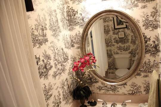 Half Bath off hall- 1st floor-29 Ginger Plum Lane Harwich Port Cape Cod - New England Vacation Rentals