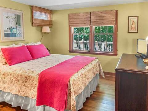 Bedroom 1 (there will be a window AC unit) and Flat screen TV - 23 Ginger Plum Lane Harwich Port Cape Cod - New England Vacation Rentals