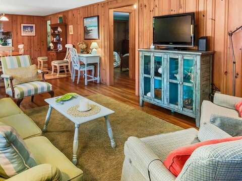 Living area with flat screen tv- 23 Ginger Plum Lane Harwich Port Cape Cod - New England Vacation Rentals