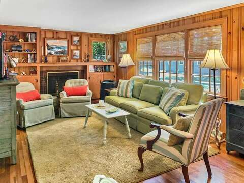 Living room with a flat screen TV, WiFi, and stand alone portable AC unit - 23 Ginger Plum Lane Harwich Port Cape Cod - New England Vacation Rentals