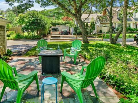 Outdoor patio with fire pit - enjoy your favorite libation after a day at the beach!  23 Ginger Plum Lane Harwich Port Cape Cod - New England Vacation Rentals