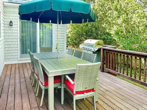 Dining on deck with gas grill conveniently located just off kitchen. - 29 Ginger Plum Lane Harwich Port Cape Cod - New England Vacation Rentals