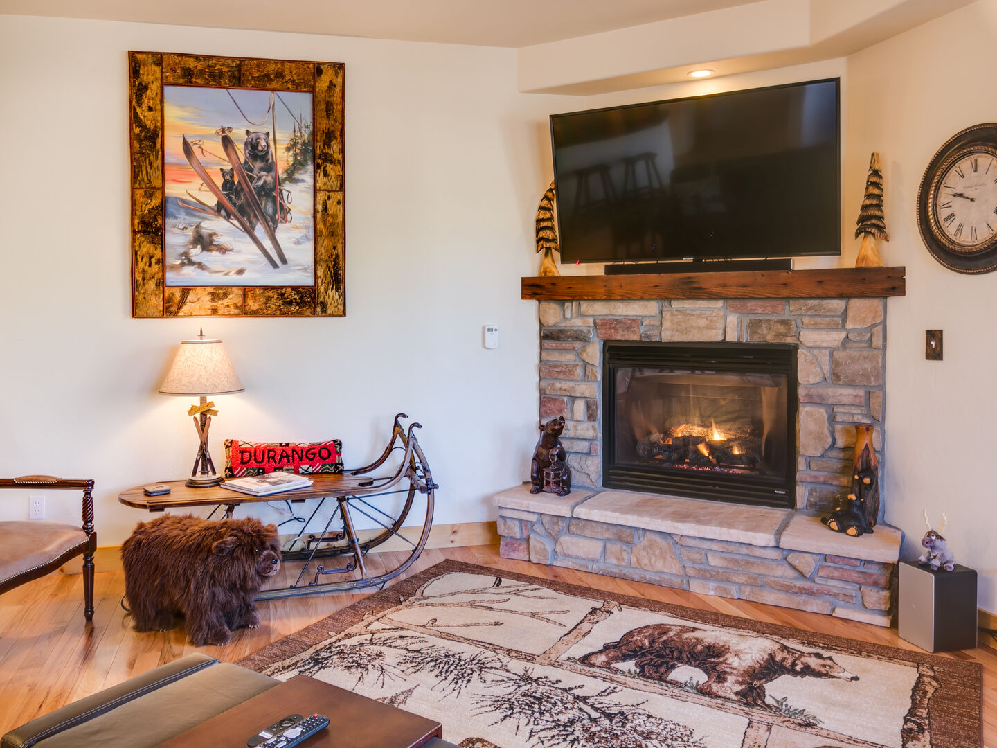 Stay cozy with a gas fireplace
