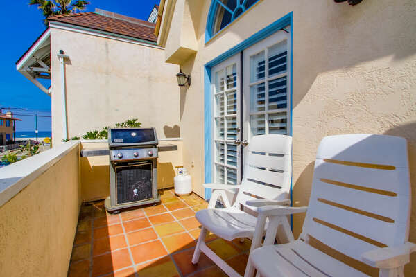 BBQ Grill and Ocean View on the Deck of our Mission Beach House Rental in San Diego