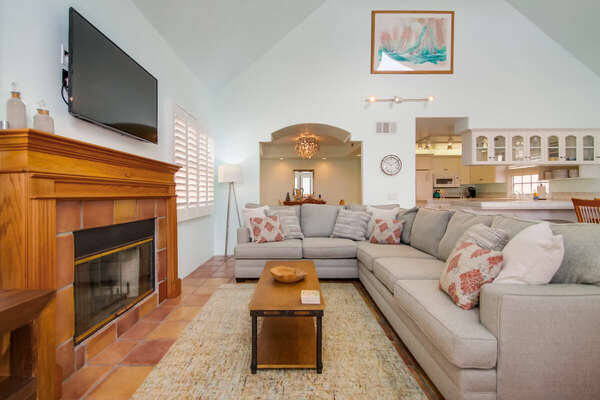 Living Room on the 2nd Floor of our Mission Beach House Rental in San Diego