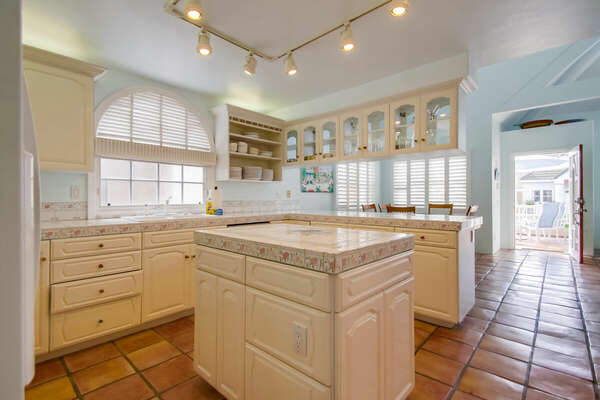 Second Floor Kitchen with Island in our Mission Beach House Rental in San Diego