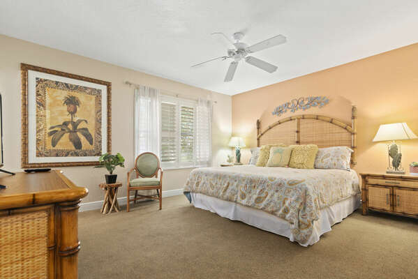 Spacious master bedroom upstairs showing King Bed