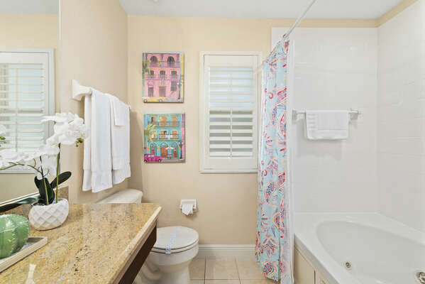 Master bath with shower tub combo